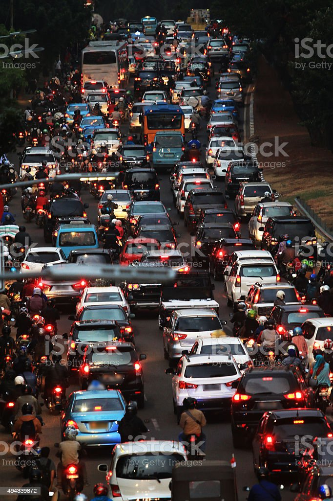 Traffic jam at rush hour in Jakarta stock photo