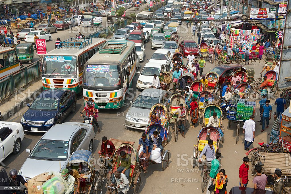 Traffic jam at the central part of the city, Dhaka, Bangladesh stock photo