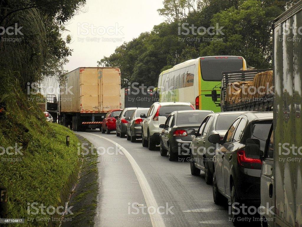 Traffic Jam Brazil Highway stock photo