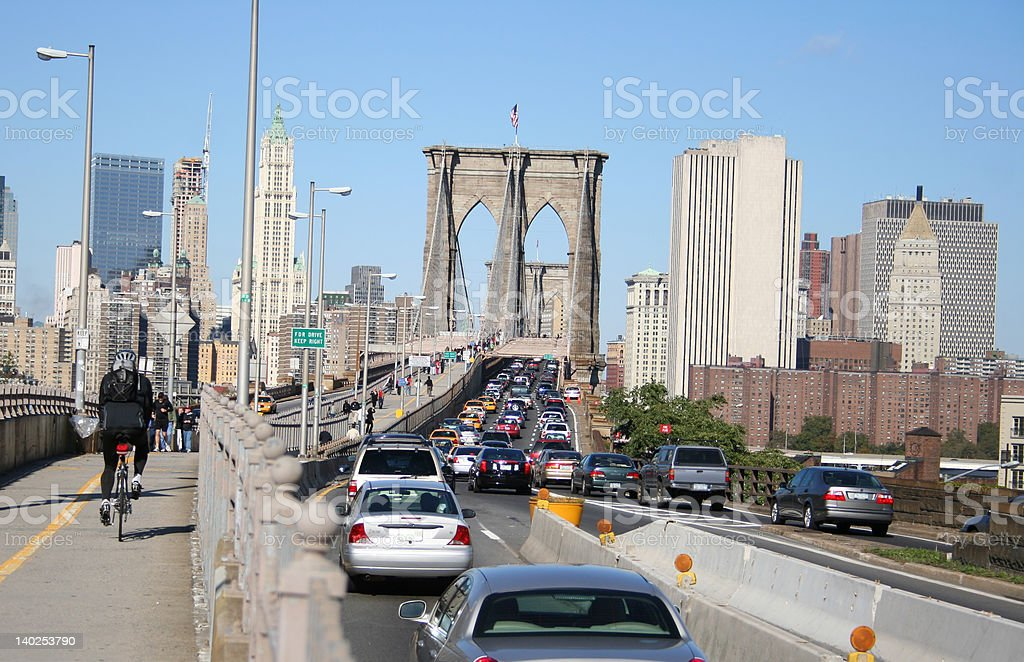 traffic jam Brooklyn bridge royalty-free stock photo