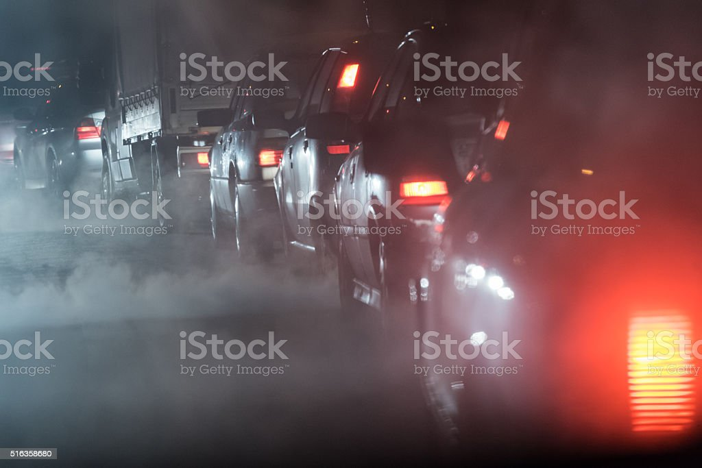 Traffic jam- cars in a row stock photo