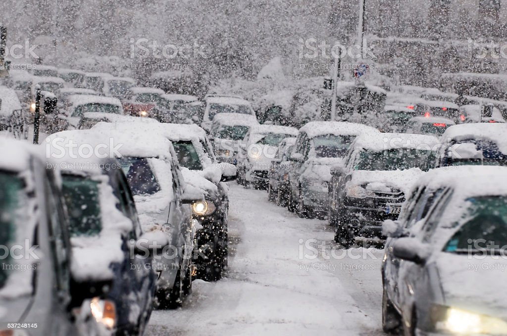 Traffic jam caused by heavy snowfall stock photo
