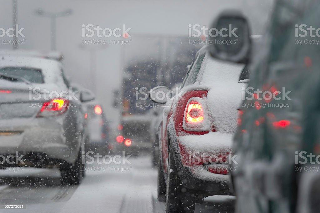 Traffic jam caused by heavy snowfall stock photo