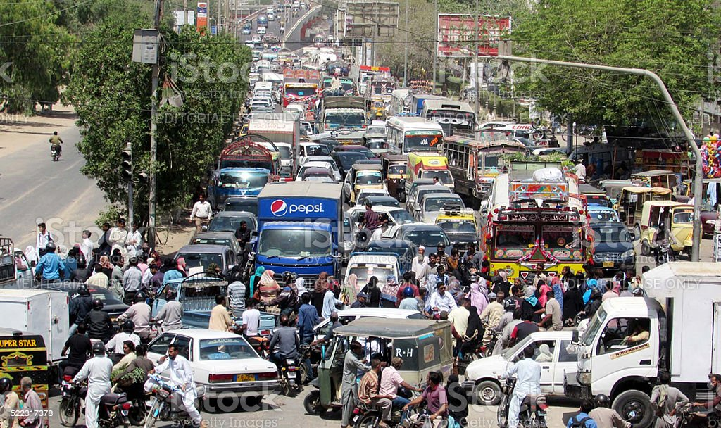 Traffic jam due to protest of government teachers stock photo