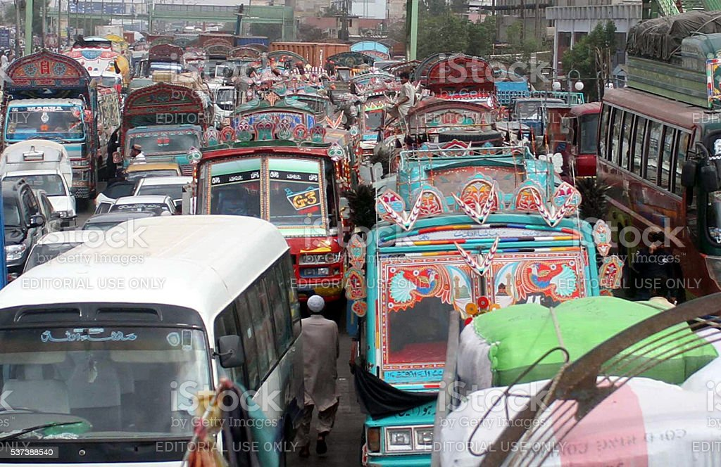 Traffic jam due to protest of Maripur residents stock photo