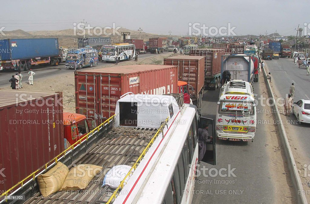 Traffic jam during the protest of Baldia Yousuf Goth stock photo