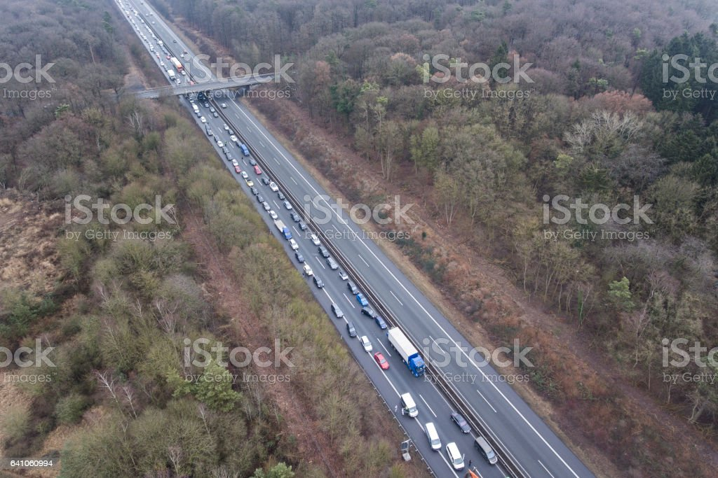 Traffic jam highway aerial view stock photo