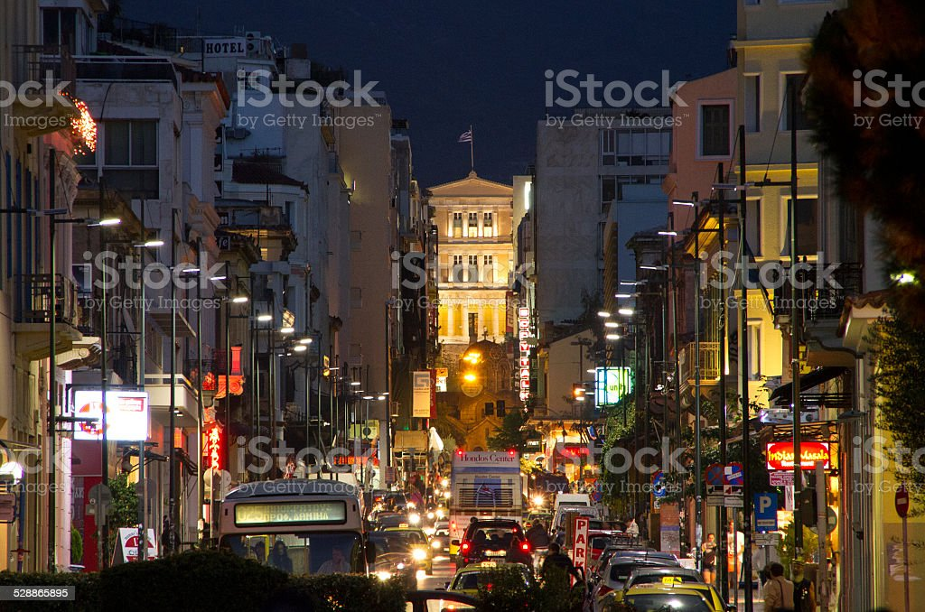 Traffic jam in Athens, Greece stock photo
