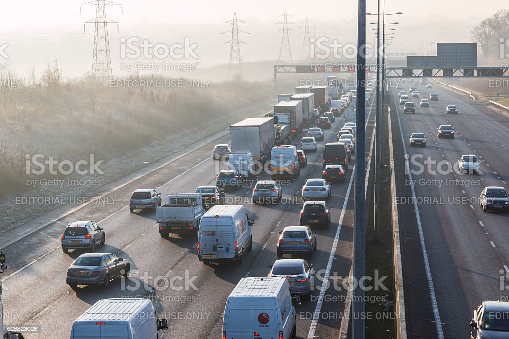 Traffic jam in frosty morning on the British M1 motorway stock photo