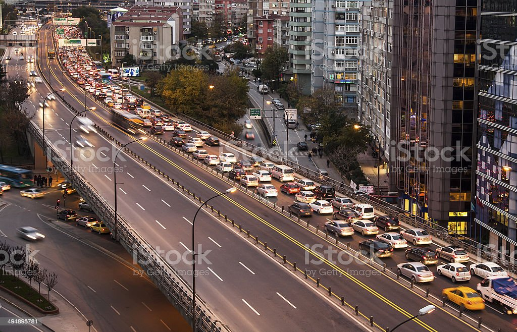 traffic jam in higway stock photo
