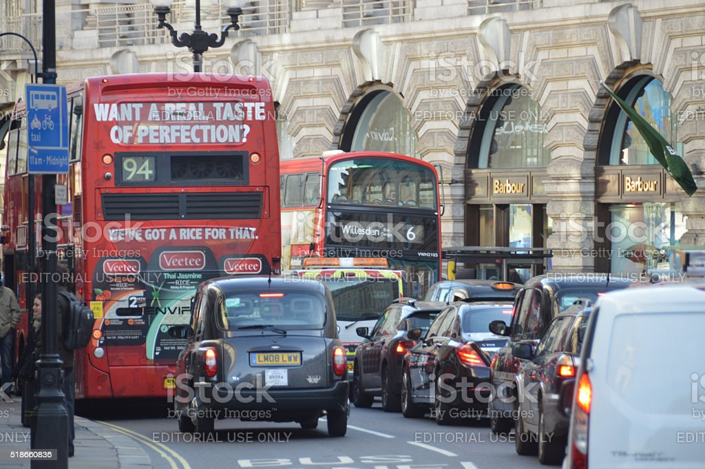 Traffic jam in London stock photo