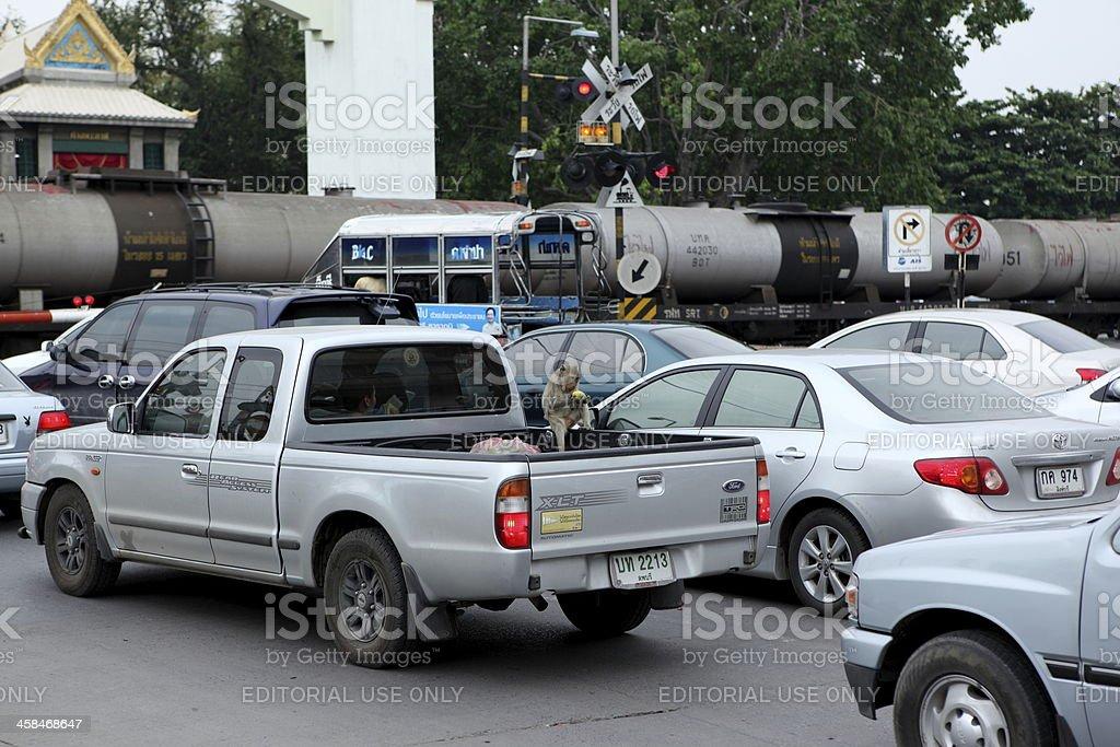 Traffic jam in Lopburi, Thailand. stock photo