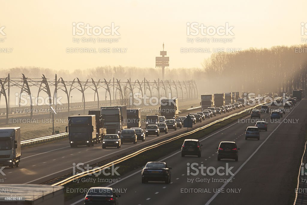 Traffic jam in morning haze stock photo
