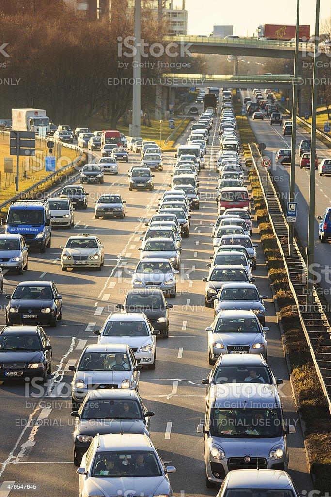 Traffic jam in Munich, Germany royalty-free stock photo
