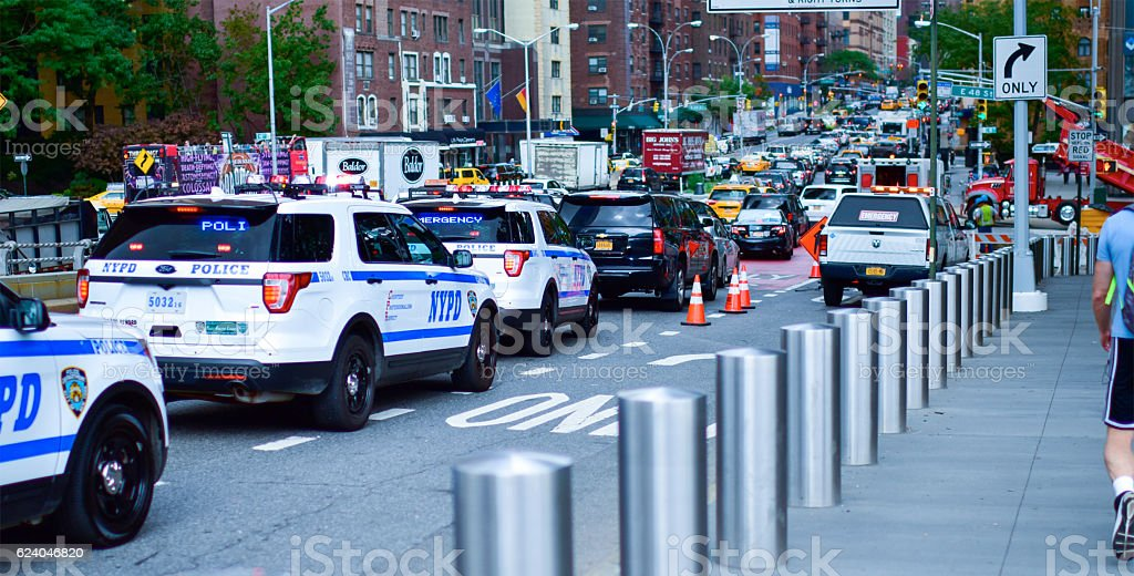 NYPD Traffic Jam in New York City stock photo