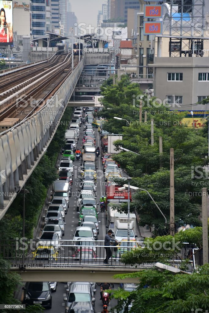 Traffic Jam in Sukhumvit, Bangkok stock photo