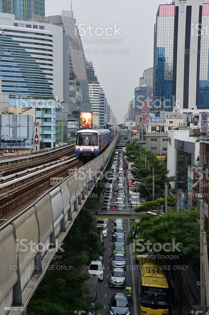 Traffic Jam in Sukhumvit, Bangkok stock photo