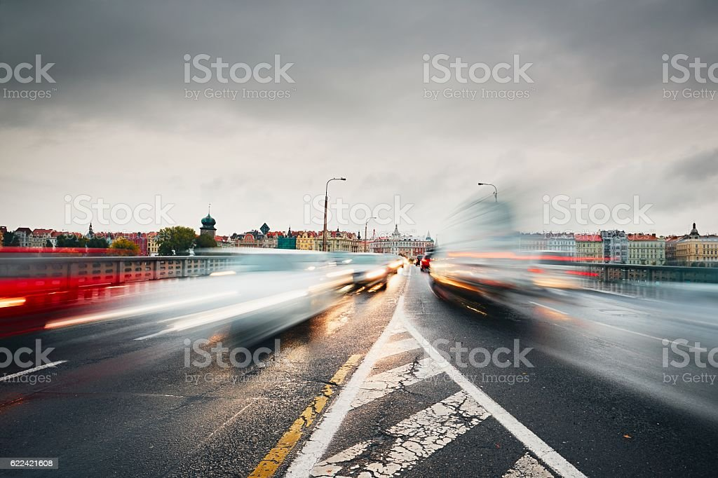 Traffic jam in the city stock photo