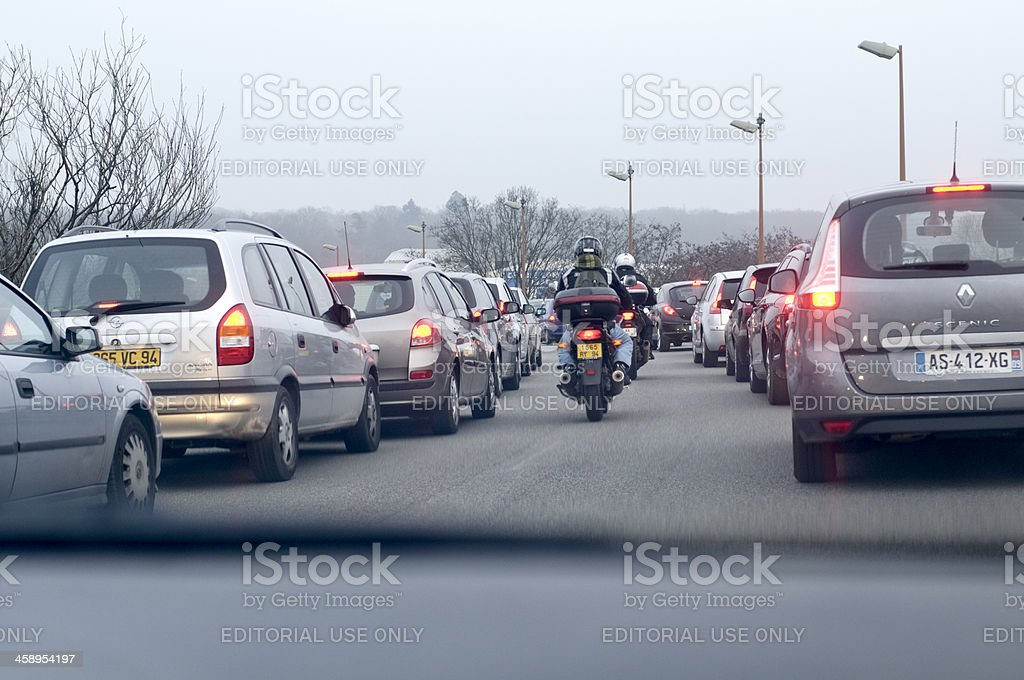 Traffic Jam in the outskirt of Paris. stock photo