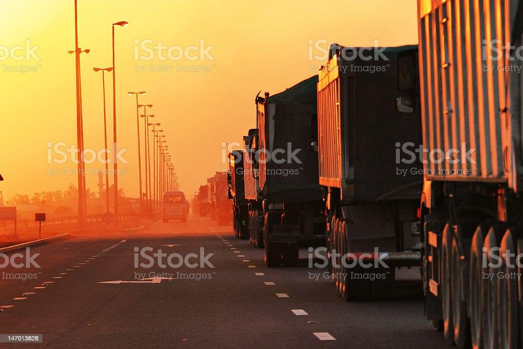Traffic Jam of Heavy Trucks stock photo