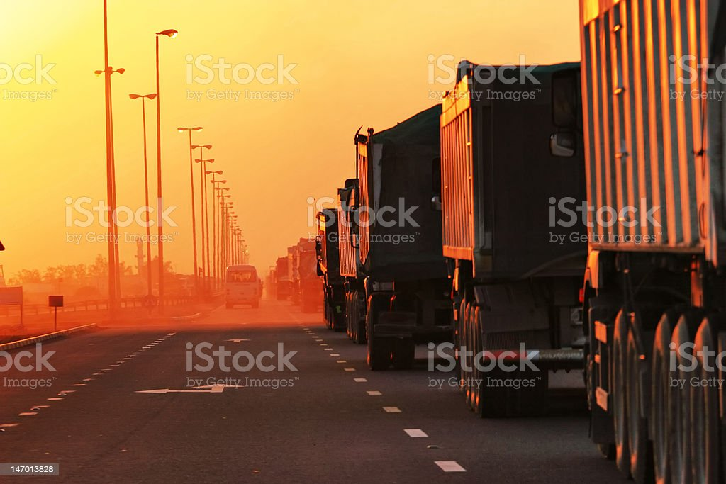 Traffic Jam of Heavy Trucks stock photo