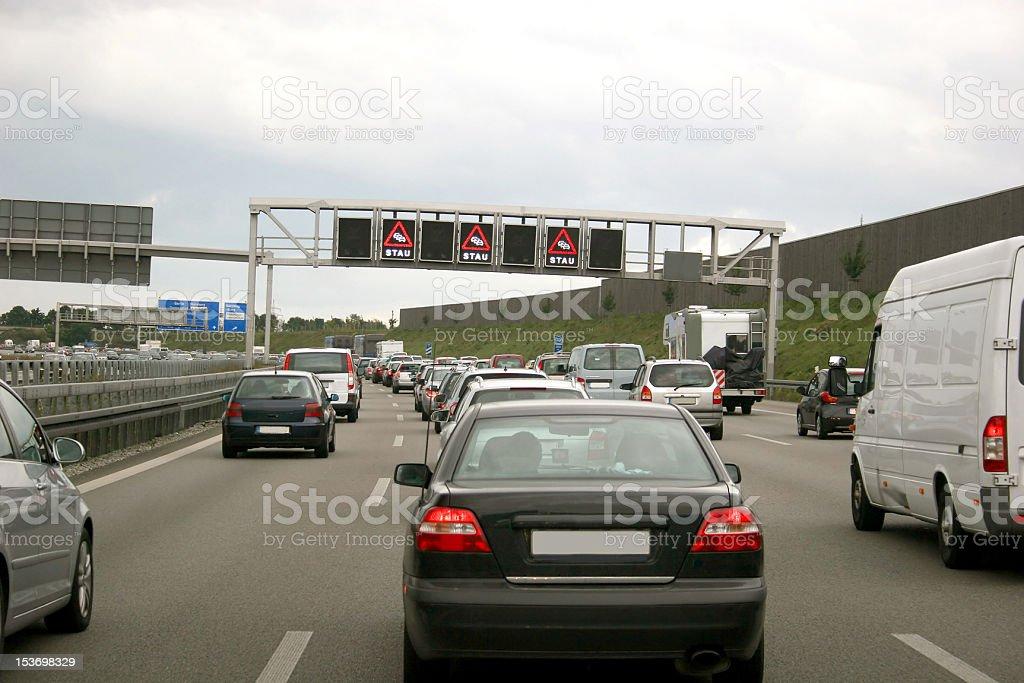 STAU - Traffic jam on a german highway stock photo