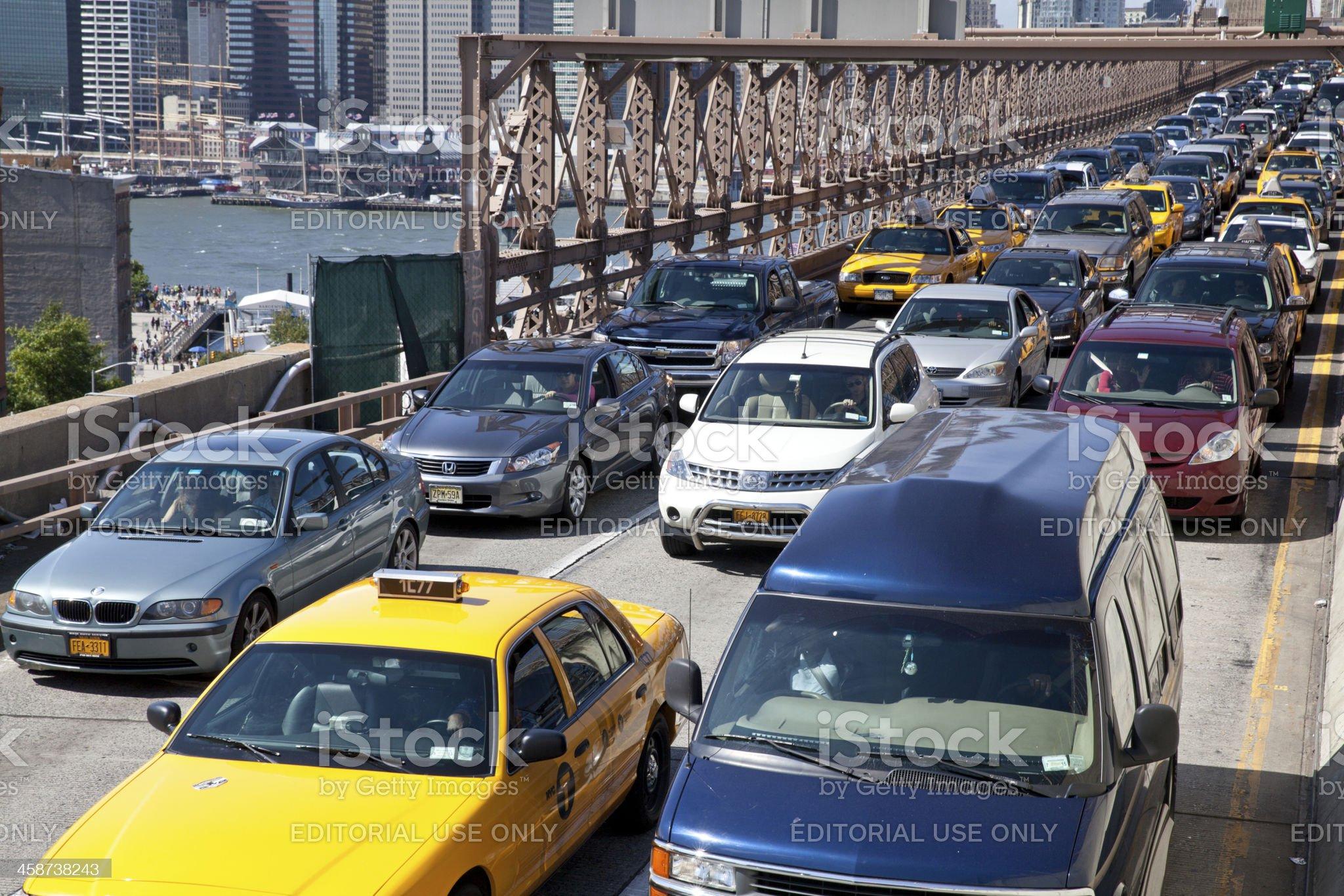 Traffic jam on Brooklyn bridge in New York City royalty-free stock photo