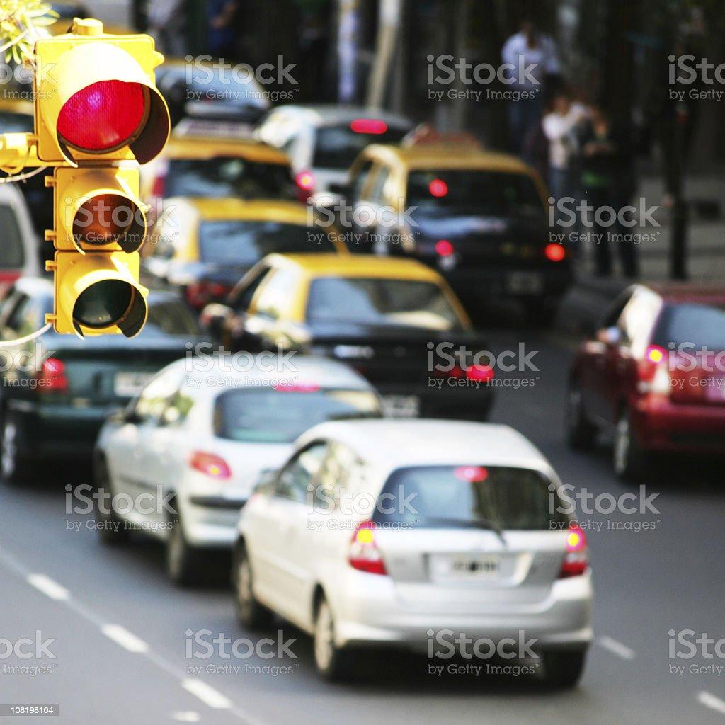 Traffic Jam on City Street stock photo