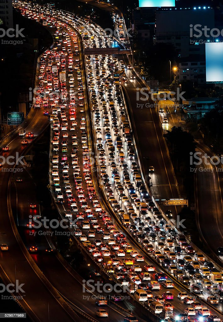 Traffic jam on express way Bangkok, Thailand stock photo