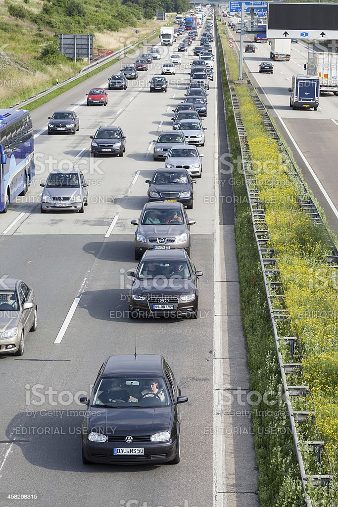 Traffic jam on german Autobahn A3 royalty-free stock photo