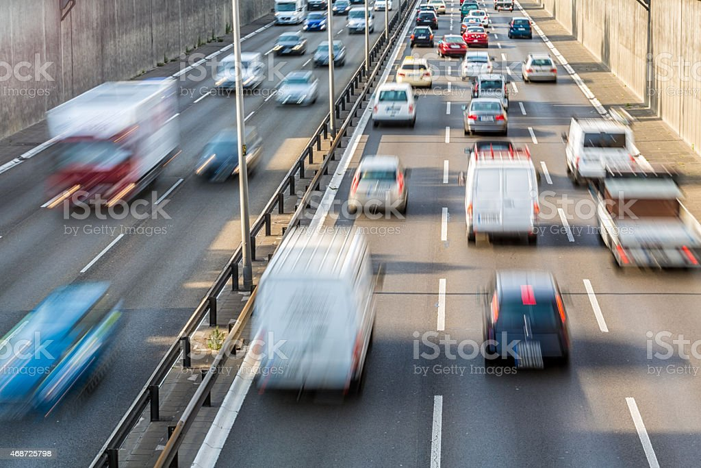 Traffic jam on German Autobahn stock photo
