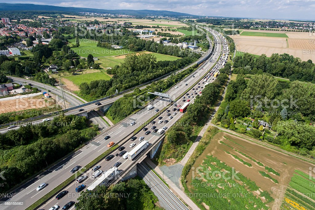 Traffic jam on German highway A5. Aerial view stock photo