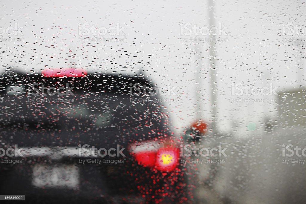 Traffic jam on highway a rainy day royalty-free stock photo