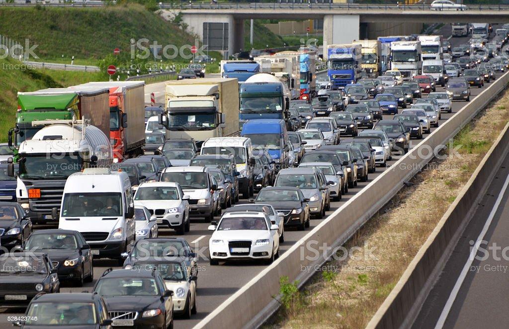 traffic jam on highway stock photo