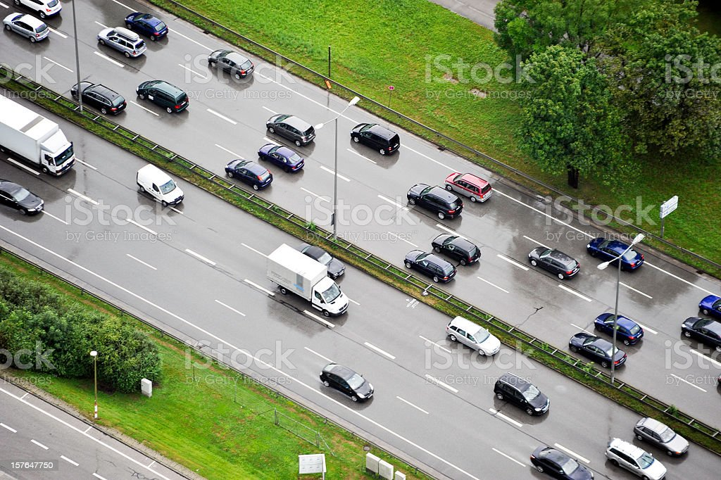 traffic jam on motorway royalty-free stock photo