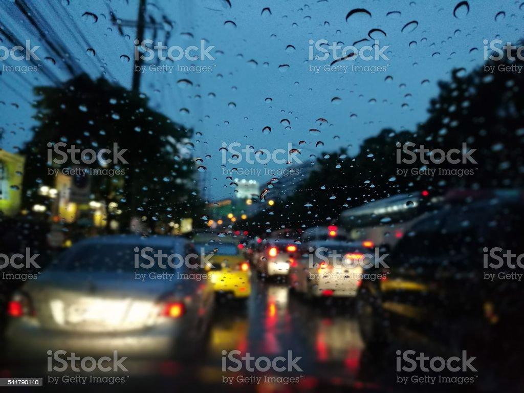 Traffic jam on raining night royalty-free stock photo