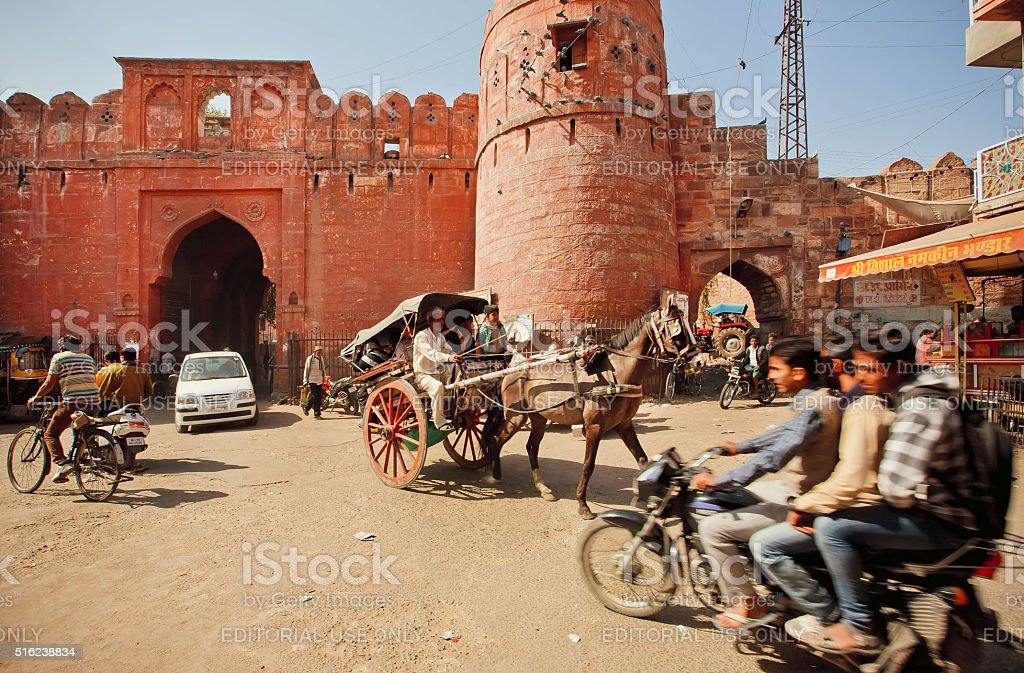 Traffic jam on road of indian city stock photo