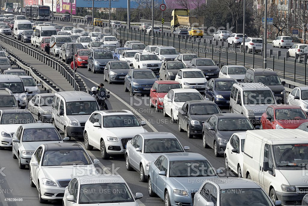 Traffic jam on rush hour Istanbul royalty-free stock photo