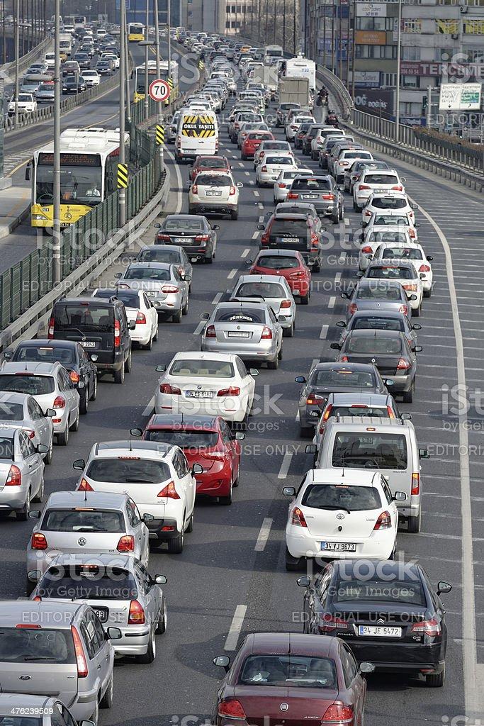Traffic jam on rush hour Istanbul stock photo