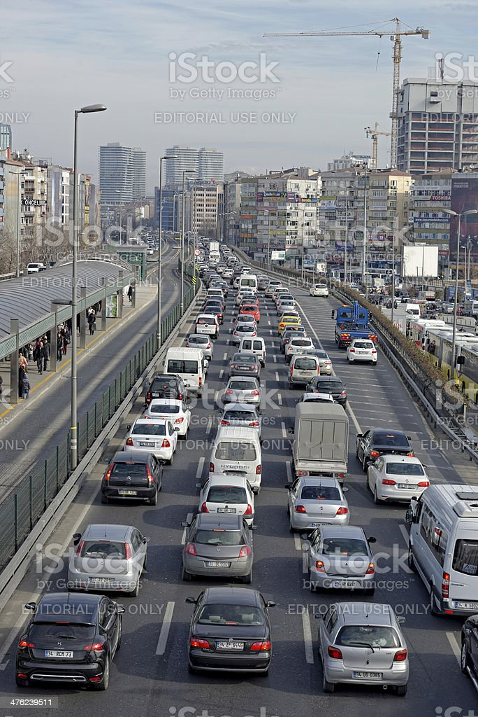 Traffic jam on rush hour Istanbul royalty-free stock photo