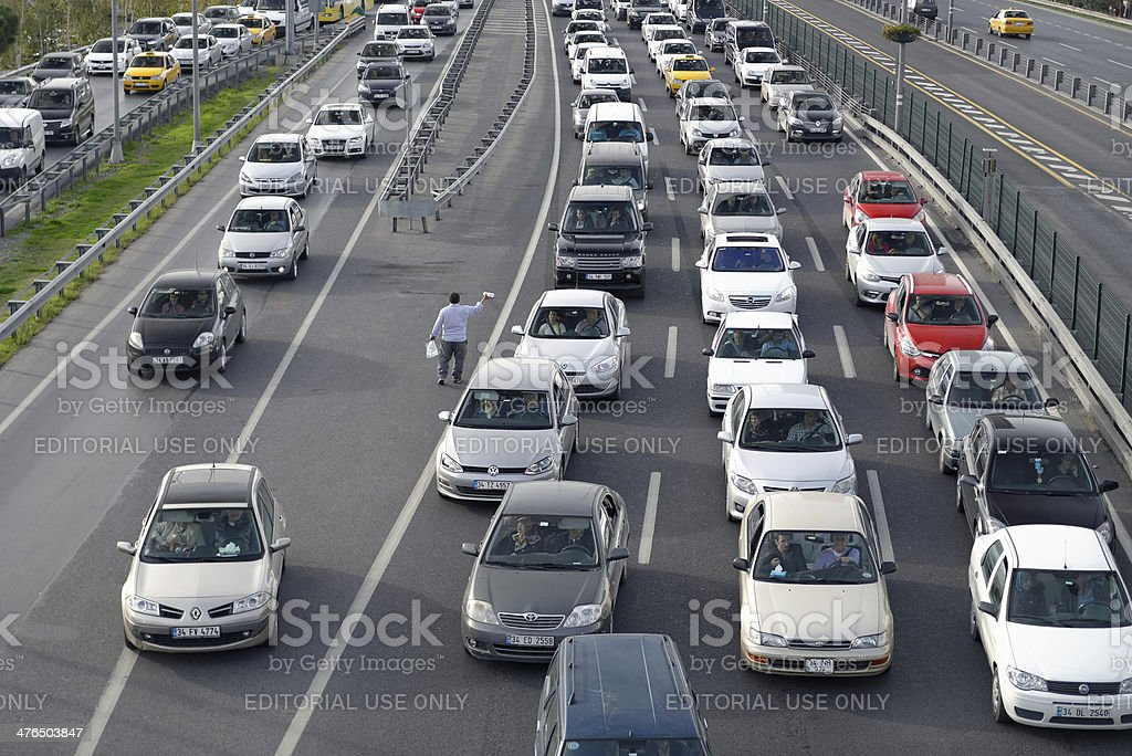 Traffic jam on rush hour Istanbul stock photo