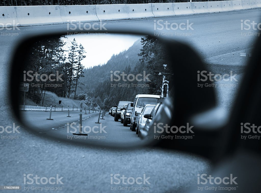 Traffic Jam on Sea-to-Sky Highway to Whistler royalty-free stock photo