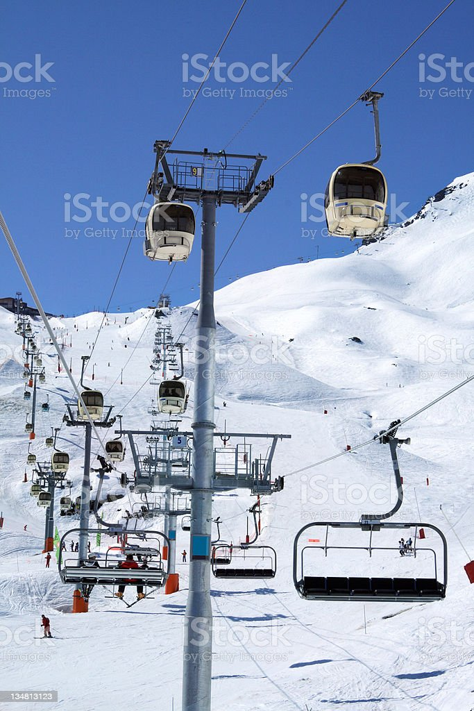 Traffic jam on snow royalty-free stock photo