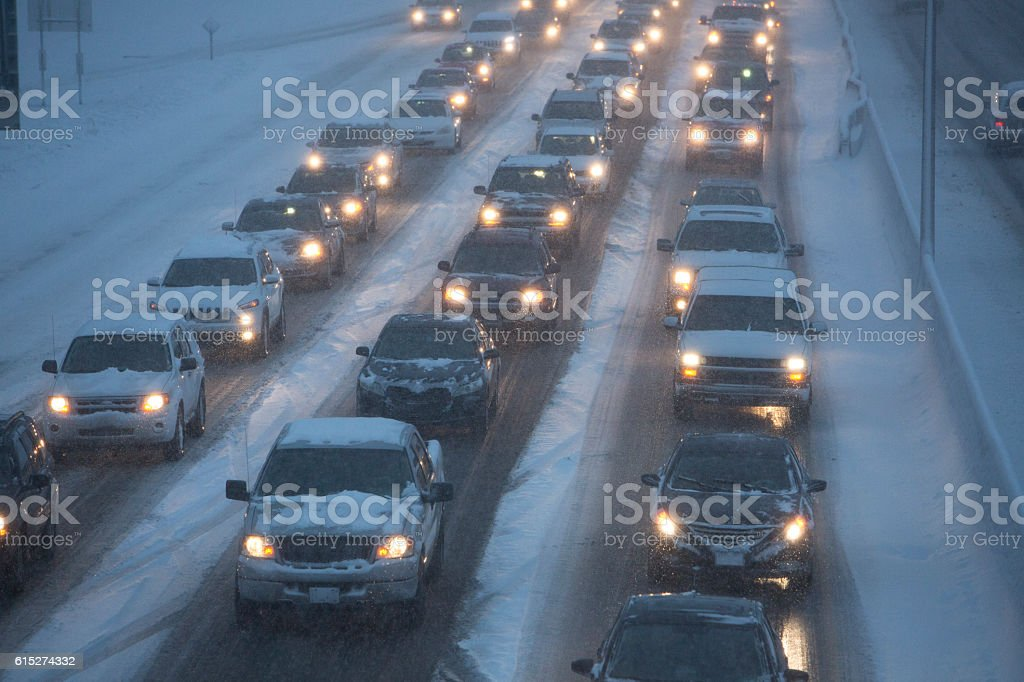 Traffic Jam on Snowy Highway stock photo