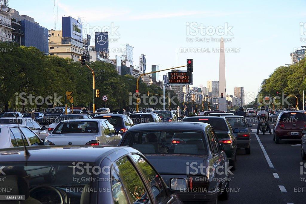 Traffic Jam On The Avenida 9 de Julio royalty-free stock photo