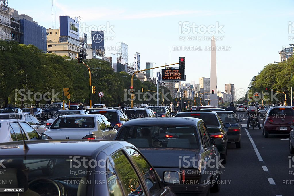 Traffic Jam On The Avenida 9 de Julio stock photo
