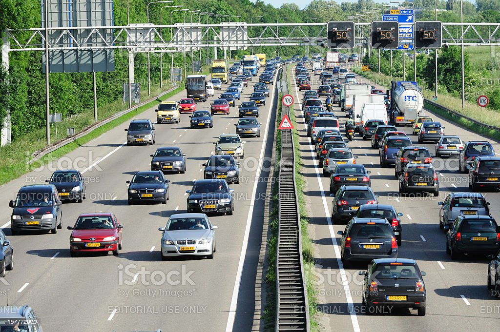 Traffic jam on the Dutch highway A2 stock photo