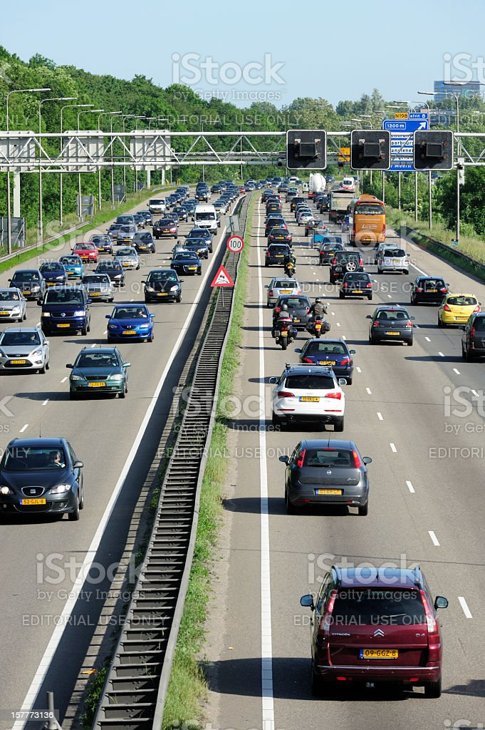Traffic jam on the Dutch highway A2 royalty-free stock photo