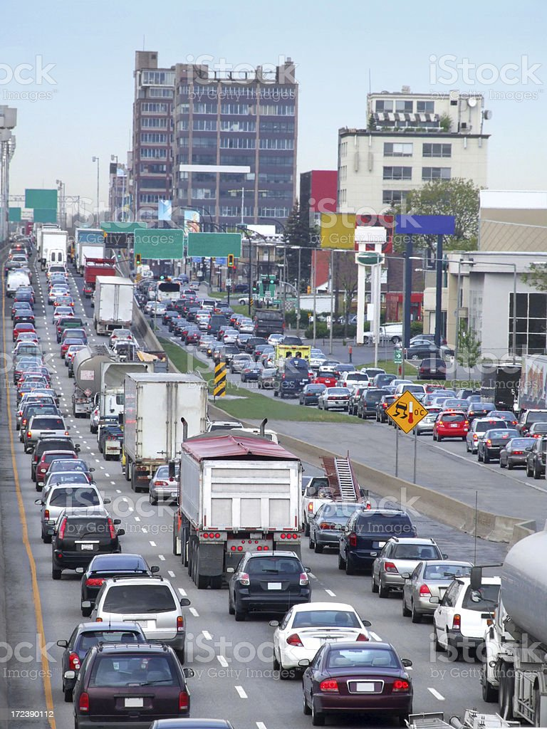 Traffic Jam on the Highway royalty-free stock photo
