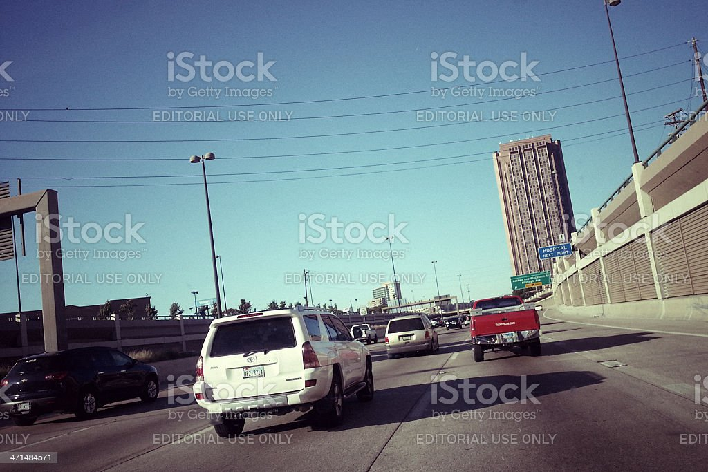 Traffic jam on the US Route 75 in Dallas stock photo
